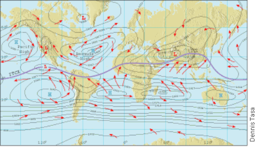 Cosscience1 Lesson 705 Pressure Centers And Winds: North America Air Pressure Map At Usa Maps